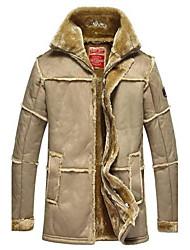 Men's Fur And Plush Leather Coat