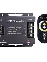 6A 2-Channel Wireless RGB LED Controller with Touch Remote Controller for RGB LED Strip Lamp (12~24V)