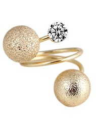 Personable Frosted  Double Ball Metal With Artificial Diamond Sphere Spiral Rings  (1Pc)
