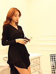 Women's White/Black/Gray Coat , Sexy/Casual Long Sleeve Cotton