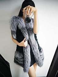 Women's Fashion Luxury Generous Imitation Fur Warm Long Vest
