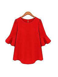 elegantwomen'ssolid Farbe Rüsche Shirt