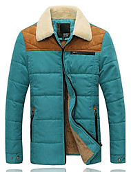 Men's Regular Parka Coat , Cotton Blend/Tweed/Wool Blend Pure Long Sleeve