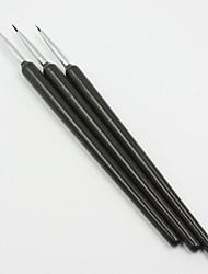 3PCS Acrylic French Nail Art DIY Liner Painting Drawing Pen Brush Tools for Acrylic UV Nail Tips Art