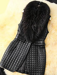 Women's Elegant Faux Fur Collar Long Vest