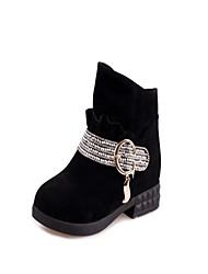 Zapatos de mujer - Tacón Robusto - Botas a la Moda - Botas - Vestido - Ante Sintético - Negro / Bermellón