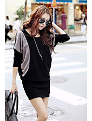 MUKA Contrast Color High Neck Long Sleeve T Shirt