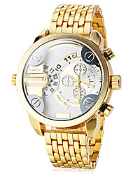 Men's Dual Time Zones Gold Steel Band Quartz Wrist Watch (Assorted Colors) Cool Watch Unique Watch