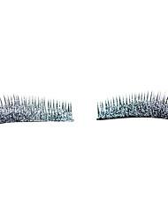 1 пара серебряный мерцающий порошок ресниц глаза конце растягивается