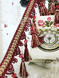 32 feet Country Graceful Hand Made Trim - Burgundy with Bead Pendant