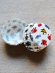 le motif de poissons de mer Cupcake Wrappers-ensemble de 50