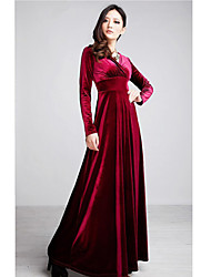 BAIGE Women's Fashion V Neck Long Sleeve Red Long Dress