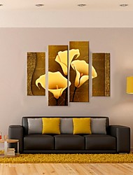 Stretched Canvas Art Golden Callas Decorative Painting Set of 4