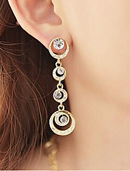 Drop Earrings Hoop Earrings Gemstone Cubic Zirconia Rhinestone Alloy Gold Jewelry 2pcs