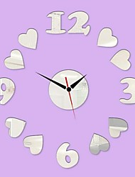 3D DIY Modern Style New Heart Numbers Mirror Wall Clock