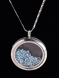 Alloy Round Magnetic Glass Floating Blue Rhinestone Living Locket Pendant