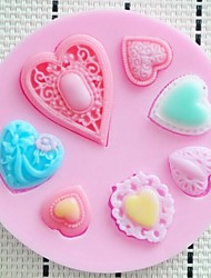 Heart Shaped Fondant Cake Chocolate Resin Clay Candy Silicone Mold Mat,L7.3cm*W7.3cm*H0.9cm