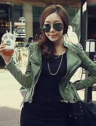 decoração zip lapela denim outerwear mulheres