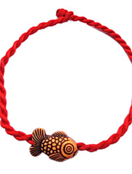 Chinese Red Classic Red String Bracelet with Cute Little Goldfish Jewelry