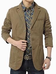Men's Long Sleeve Regular Blazer/Coat , Cotton/Polyester Pure