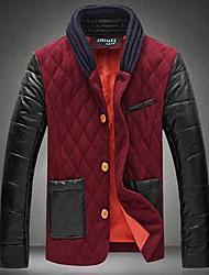 Men's Regular Parka Coat , Cotton/Cotton Blend Print Long Sleeve