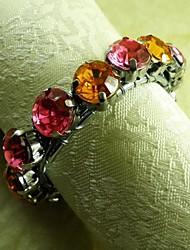 chaîne de cristal ronde couleurs mélangées rond de serviette, beades acryliques, 4,5 cm, lot de 12