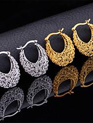 u7 venta caliente esposas huecos vendimia pendientes de aro de platino oro 18k plateado para las mujeres de alta calidad