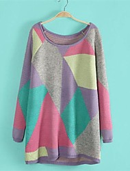Women's Round Collar Color Blocking Knitting Loose Sweater