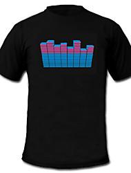 Tee-shirts LED Lampes LED activées par le son Tissu XS S M L XL XXL Elégant Noir 2 Piles AAA