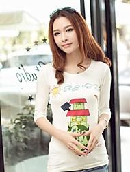 XinYuanGe® Women's Round Neck Long Sleeve Slim House Print Shirt