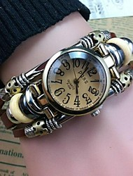 Women's High Quality Personalized Numbers Leather Quartz Movement Bracelet Watches