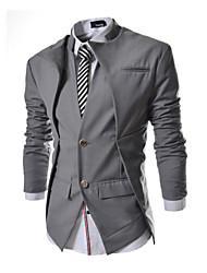 JOGAL Men's Casual/Work/Formal Pure Long Sleeve Regular Blazer (Cotton/Cotton Blends)