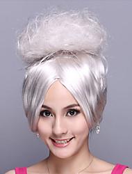 noble dama blanco sintético de fibra de halloween fiesta de la peluca los 35cm de las mujeres