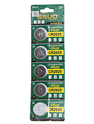 CR2025 3V Lithium Watch Battery 5PCS
