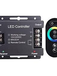 6a 2 canaux rgb sans fil intelligent mené contrôleur avec télécommande tactile pour RGB LED lampe de bande (12 ~ 24v)