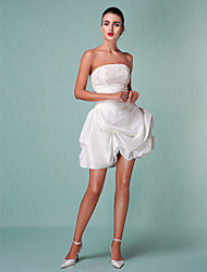 Lanting Bride Ball Gown Petite / Plus Sizes Wedding Dress-Short/Mini Strapless Taffeta