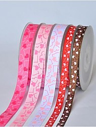 3/8 Inch Romantic Love Word Heart-shaped Rib Ribbon Printing Ribbon- 25 Yards Per Roll (More Colors)