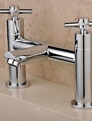 Contemporary English-Style Double Holes Cross Handles Chrome Brass  Bathtub Faucet