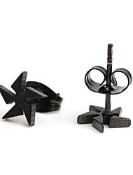 brand-new di orecchini in acciaio inox mulino a vento nero