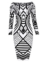 Monta Women's Long Sleeve Print Bodycon Slim Dresses