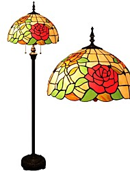 110-120V Rose Tiffany Lamp With Stained Glass and Glass Beads
