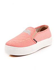 das mulheres sapatos trepadeiras rodada toe loafers lona salto baixo sapatos mais cores disponíveis