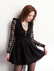 Women's Fashion Lace V Neck Long Lseeve Chain Solid Color Dress