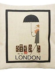 """createforlife® 18 """"capa de travesseiro decorativo quadrado desenhos animados londres roupa retro cavalheiro algodão"""