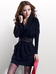 TS Sexy Fashion Slim Long Sleeve Mini Dress Women Dress With Double Pockets