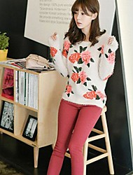 Women's  Female Flowers Fur Garment Unlined Upper Garment Sweaters