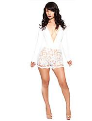 Women's Deep V Neck Lace Cut Out High Waist Jumpsuits