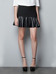 Women's Spring&Autumn PU Leather Skirt