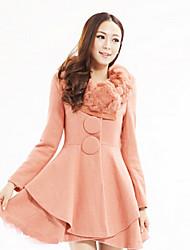 Нами моды сплошной цвет длинный рукав coat_2