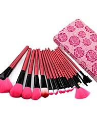 18pcs haute qualité fushcia pinceau de maquillage professionnel avec le sac de rosette libre